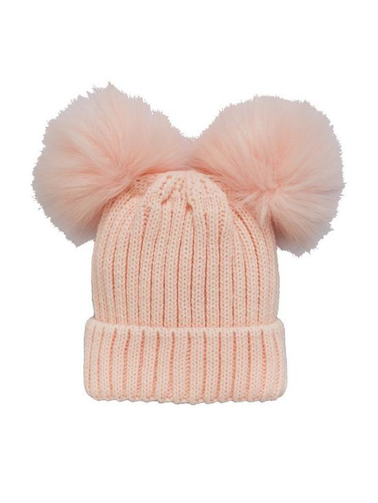 a62d13dc25e Mini V by Very Baby Girls Double Pom Pom Hat - Baby Pink