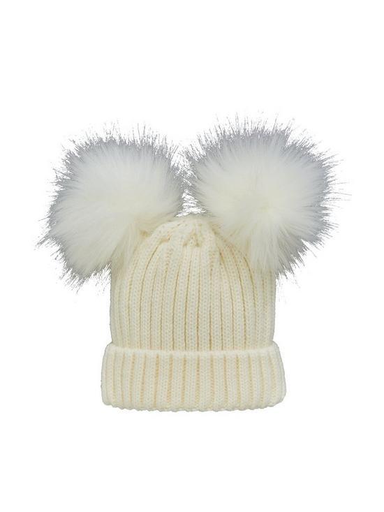 Mini V by Very Baby Unisex Double Pom Pom Hat - Cream  12fe2e814bd