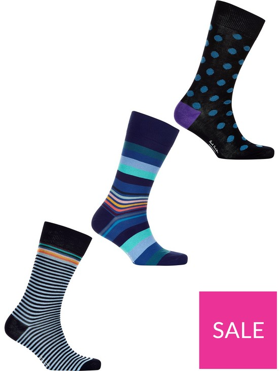 a7be205ee873 PS PAUL SMITH Men's 3 Pack Mixed Spots And Stripes Socks - Navy ...