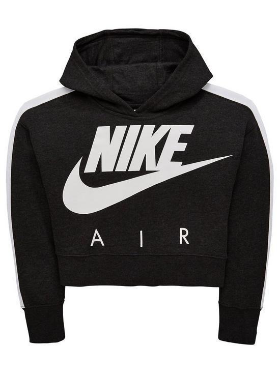 b4f1f8ecd8f5 Nike Girls Nsw Crop Air Hoodie - Black