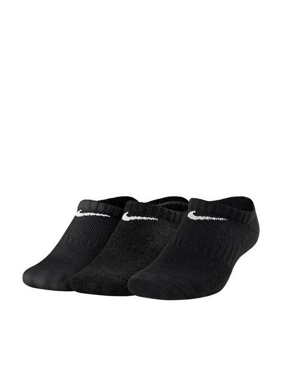 2055d7822694c Nike Childrens 3 Pack Performance No Show Training Socks - Black ...