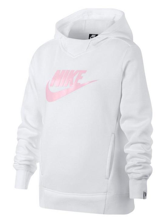 ad0b98223 Nike Sportswear Girls Pullover Hoodie - White Pink