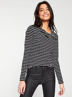 v-by-very-bow-neck-top-stripe