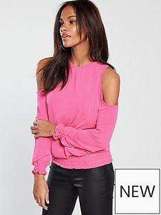 v-by-very-cupro-sheered-hem-top-coral-pink