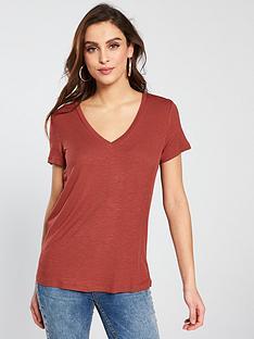 v-by-very-rib-v-neck-t-shirt--nbsp-rustnbsp