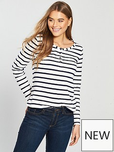 v-by-very-button-front-long-sleeve-top-stripe