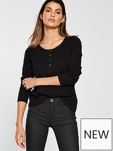 v-by-very-button-front-long-sleeve-top-black