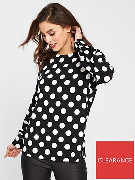 v-by-very-crepe-polka-dot-top-blackwhite