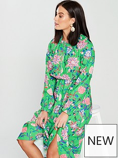 v-by-very-unique-zip-front-printed-dress-green