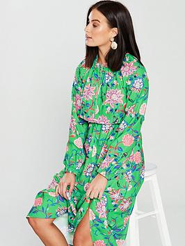 V By Very Unique Zip Front Printed Dress - Green