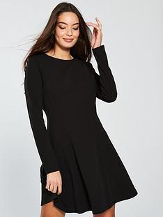 v-by-very-crew-neck-volume-hem-dress-black