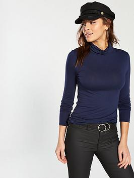 v-by-very-roll-neck-top-navy