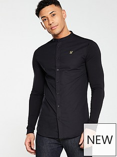 sik-silk-grandad-collar-long-sleeve-shirt-black