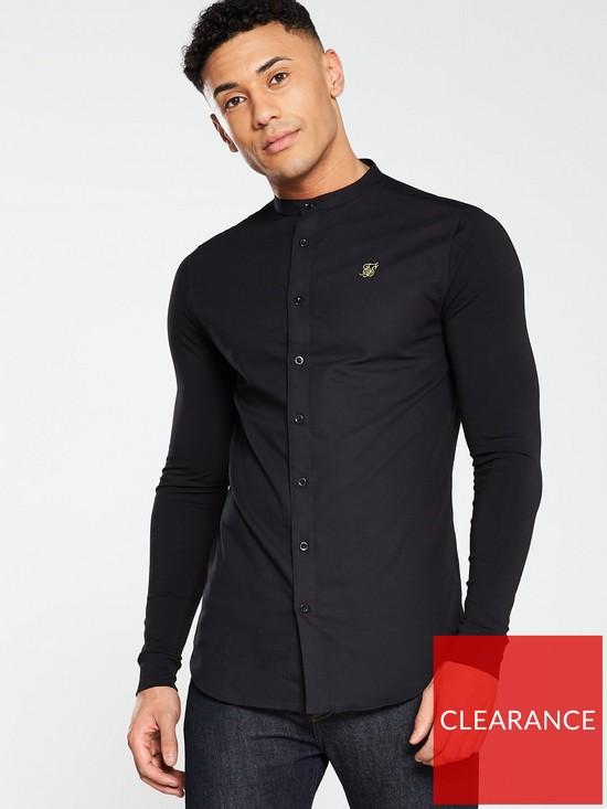 Silk Shirt Sik Sleeve co Collar Long uk BlackVery Grandad IH2YW9ED