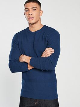 v-by-very-textured-stripe-knit-jumper-navy