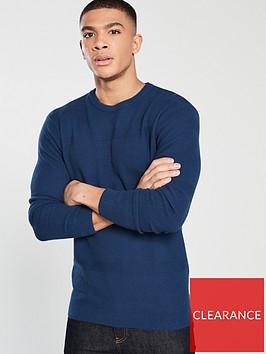 v-by-very-textured-stripe-knit-jumper-navy