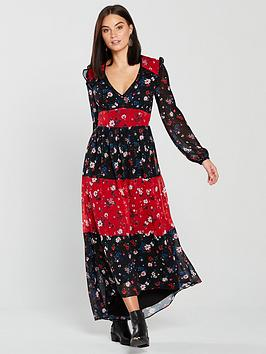 V By Very Unique Dipped Back Hem Midaxi Dress - Print