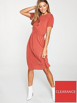 v-by-very-twist-front-midi-dress-rust
