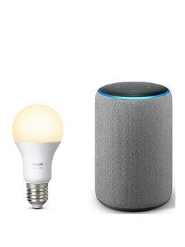 amazon-echo-plus-2ndnbspgennbspwith-built-in-smart-hub-and-hue-white-ambiance-e27-single-bulb