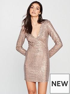 the-girl-code-power-shoulder-sequin-panel-dress-metallic