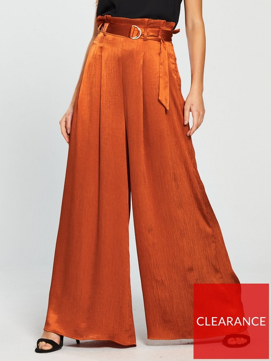 afc0ae8659 The Girl Code Crinkle Satin Wide Leg Paperbag Trousers - Rust   very ...
