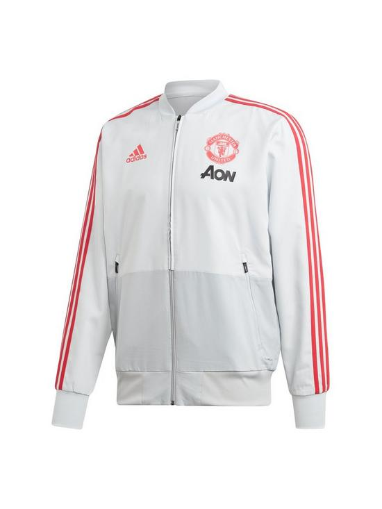 bbfcf3b5f86 adidas Manchester United Pre-Match Warm Up Jacket - White