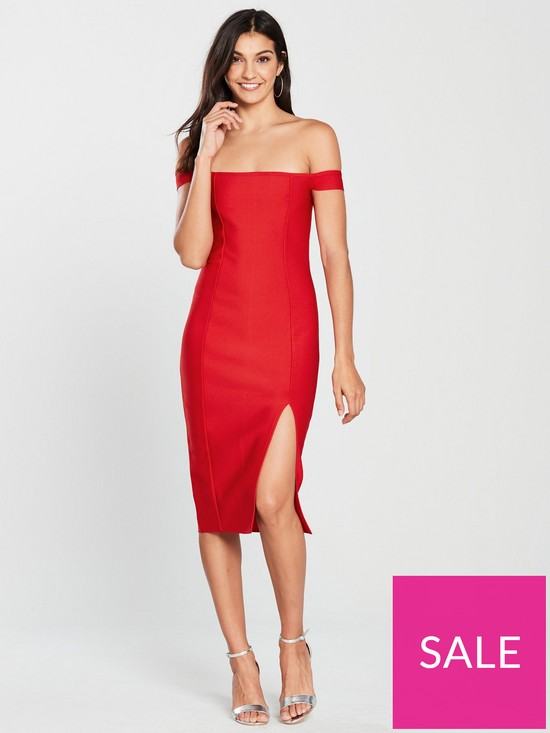 ac1b4a98531b The Girl Code Bardot Midi Bandage Dress - Red | very.co.uk