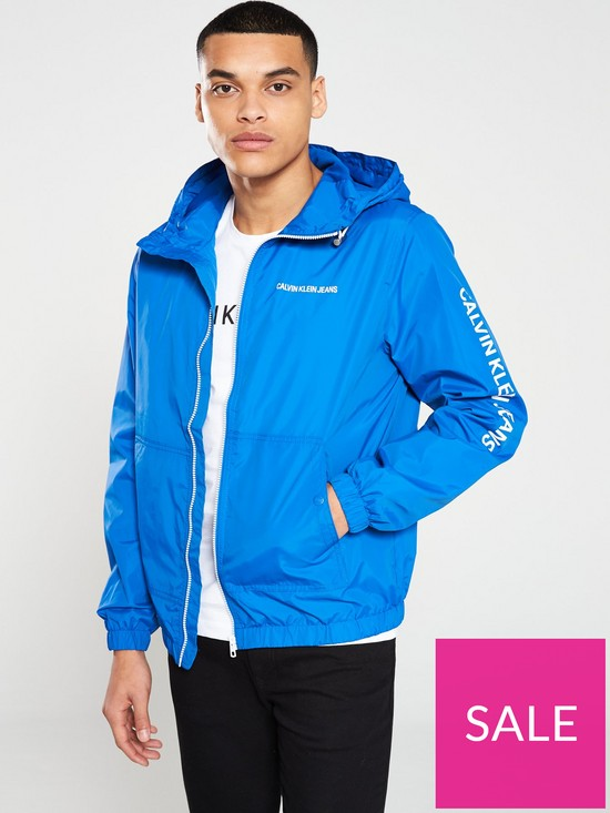 16428bd3d0 Calvin Klein Jeans Hooded Zip Up Jacket - Nautical Blue | very.co.uk