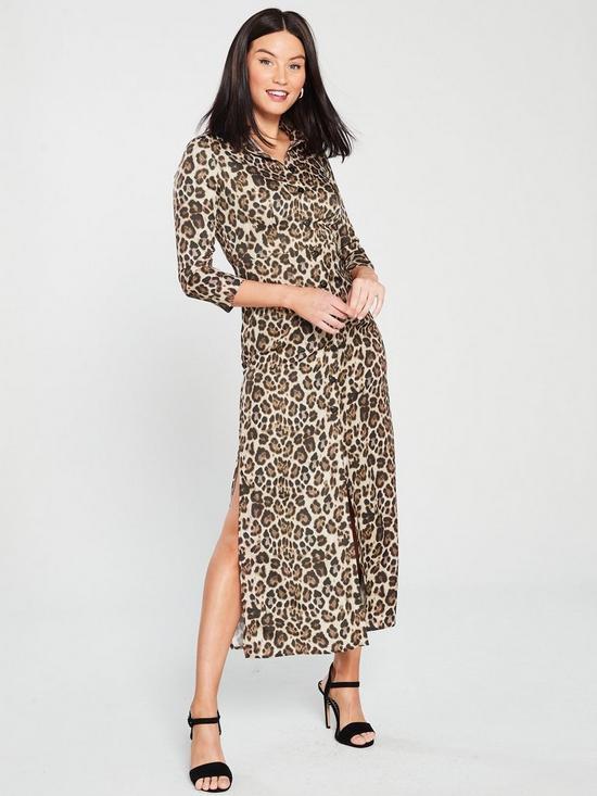 0c2be5f43bb6 River Island Leopard Print Midi Dress - Brown