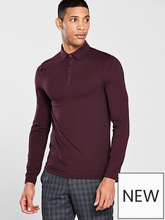river-island-dark-red-muscle-fit-long-sleeve-polo-shirt