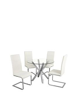 chopstick-100-cm-round-glass-and-chrome-table-4-white-jet-chairs
