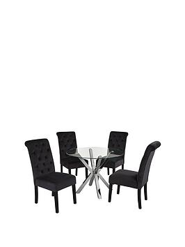 chopstick-100-cm-round-glass-and-chrome-dining-table-4-velvet-scroll-back-chairs