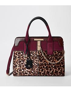 river-island-river-island-leopard-lock-front-tote-bag--dark-red