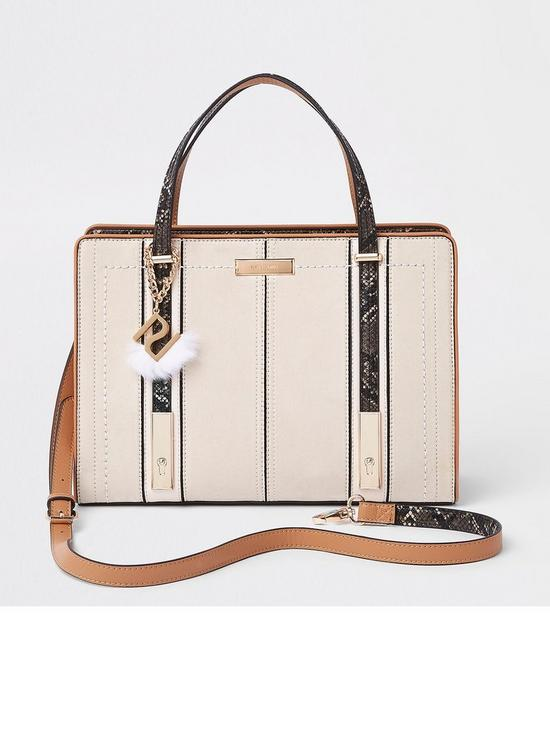c43509688759 River Island River Island Long Handle Structured Tote Bag- Cream ...