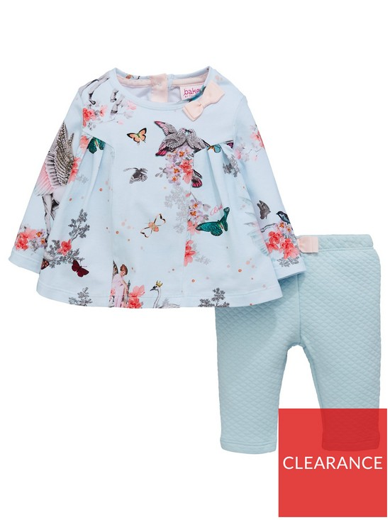 49df9cedb89ea Baker by Ted Baker Baby Girls 2 Piece Swing Top and Leggings Outfit - Light  Blue