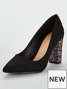 wallis-glitter-heel-court-shoe-blacknbsp