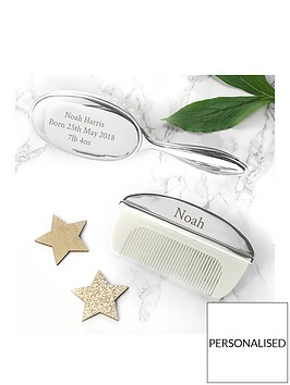 personalised-silver-plated-baby-brush-and-comb-set