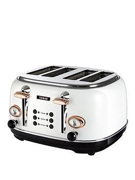 Tower Bottega 4-Slice Toaster - White/Rose Gold