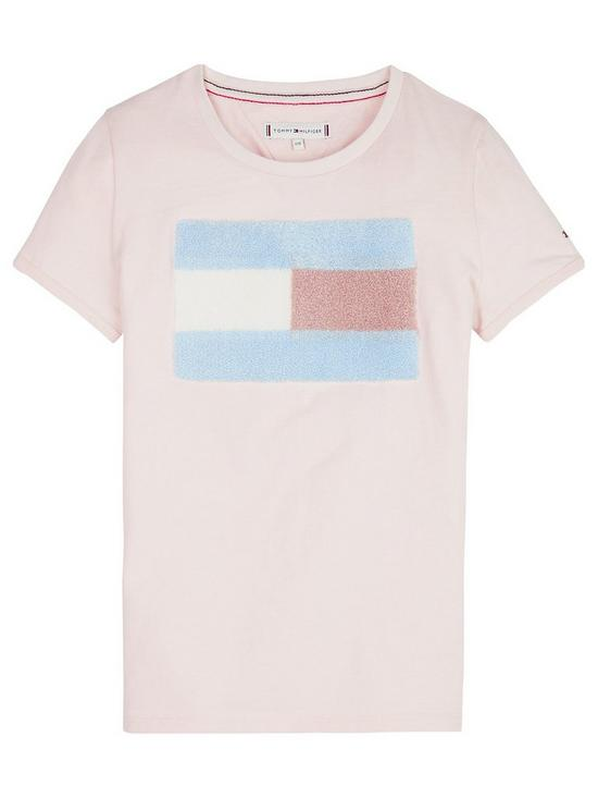 9dc218306 Tommy Hilfiger Girls Faux Fur Flag Short Sleeve T-shirt - Pale Pink ...