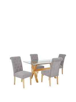 venla-150-cm-solid-wood-and-glass-dining-table-4-fabric-scroll-back-chairs