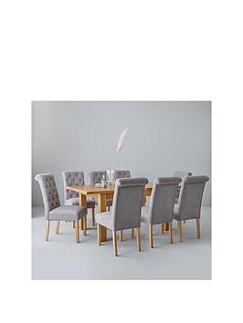 oakland-140-180-cm-solid-wood-extending-dining-table-8-fabric-scroll-back-chairs