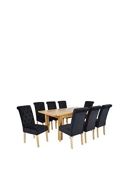 oakland-140-180-cm-solid-wood-extending-dining-table-8-scroll-back-velvet-chairs