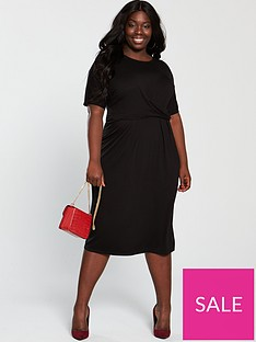 v-by-very-curve-twist-front-midi-dress-black