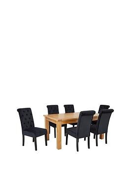 oakland-170-cm-solid-wood-dining-table-6-velvet-scroll-back-chairs