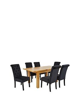 oakland-140-180-cm-solid-wood-extending-dining-table-6-velvet-scroll-back-chairs