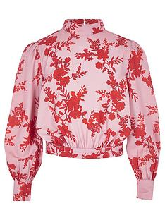 river-island-girls-pink-floral-high-neck-blouse