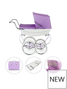 silver-cross-oberon-sparkle-purple-dolls-pram-4-piece-exclusive-bundle-with-optional-personalisation