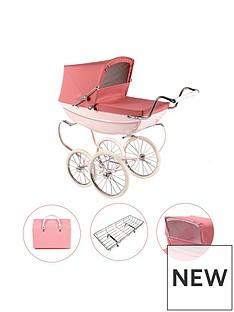 silver-cross-oberon-pink-dolls-pram-4-piece-exclusive-bundle-with-optional-personalisation