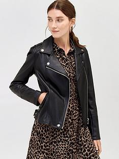 warehouse-faux-leather-biker-jacket-blacknbsp