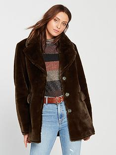 warehouse-femme-faux-fur-coat-chocolate